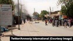Amnesty international appelle les autorités soudanaises à diligenter une enquête sur l'attaque meurtrière d'une milice pro-gouvernementale contre un camp de personnes déplacées internes au Darfour, 22 mai 2018. (Twitter/Amnesty international)