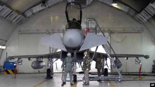 An Italian pilot and ground crew check a Eurofighter EF-2000 Typhoon at the Gioia del Colle NATO Airbase in Italy, March 21, 2011. Arab nations do not want military intervention under way in Libya to be placed under NATO control, said French Foreign Minis
