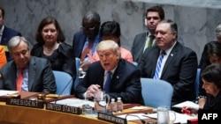ABŞ prezident Donald Tramp BMT-nin Təhlükəsizlik Şurasının iclasına sədrlik edir, 26 sentyabr, 2018.