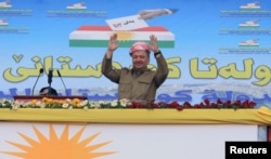 Iraqi Kurdish leader Masoud Barzani attends a rally in support for the independence referendum in Zakho, Iraq, Sept. 14, 2017.