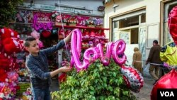 "A balloon spelling out ""LOVE"" is added to a plant at an Egyptian flower shop. (H. Elrasam/VOA)"