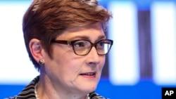 Ngoại Trưởng Úc Marise Payne, thời còn là Bộ Trưởng Quốc Phòng. Ảnh chụp tại Đối thoại Shangri-La ở Singapore ngày 2/6/2018. (AP Photo/Yong Teck Lim)