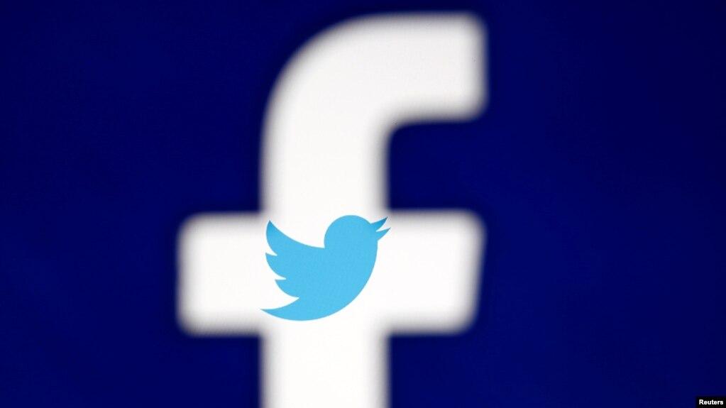 Logos de Facebook y Twitter, dos de las empresas tecnológicas que declaran este martes ante una Comisión del Senado sobre la interferencia rusa en las elecciones de 2016.