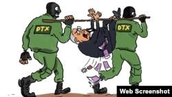 DTX-nin rüşvətxoru saxlaması səhnəsi (Karikatura Gündüz Ağayevindir)