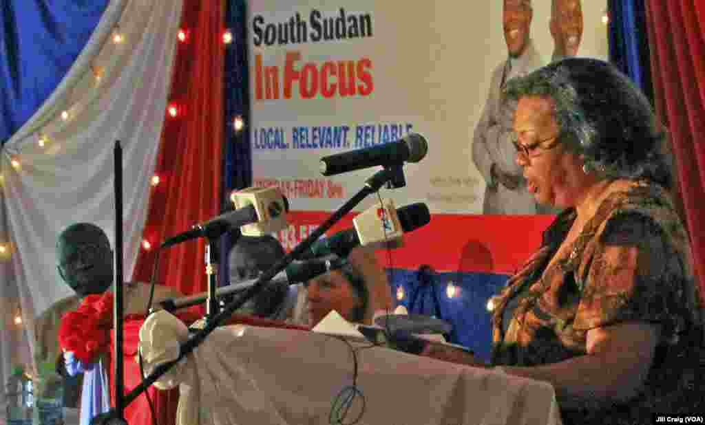 U.S. Ambassador to South Sudan Susan Page speaks at the launch of the Voice of America transmitter in Juba on Thursday, March 21, 2013. (VOA/Jill Craig)