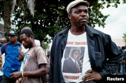 Supporters of Congolese opposition leader Étienne Tshisekedi gather outside his residence in Kinshasa, Feb. 2, 2017.