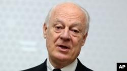 Utusan Khusus PBB untuk Suriah, Staffan de Mistura dalam sebuah konferensi pers di Wina, Austria.