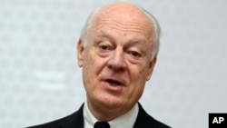 FILE -UN Special Envoy for Syria Staffan de Mistura, Feb. 13, 2015,