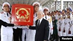 Ông Nguyễn Phú Trọng trong đám tang ông Trần Đại Quang năm 2018.
