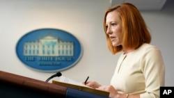 白宫新闻秘书莎琪2021年10月4日在白宫举行例行新闻发布会(美联社)。