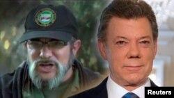 El presidente de Colombia Juan Manuel Santos (derecha) y el comandante de las FARC Timochenko realizarán una ceremonia formal del fin de los combates el martes, 27 de junio de 2017.