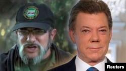 Presiden Kolombia Juan Manuel Santos (kanan) dan pemimpin pemberontak FARC yang dikenal sebagai Timoshenko.