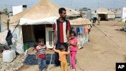 2013年9月22日在伊拉克首都巴格達北部350公里之外的一個敘利亞難民營。