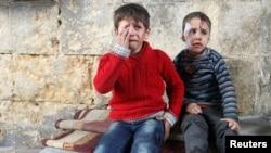 敘利亞戰場上的受傷男孩(資料圖片)
