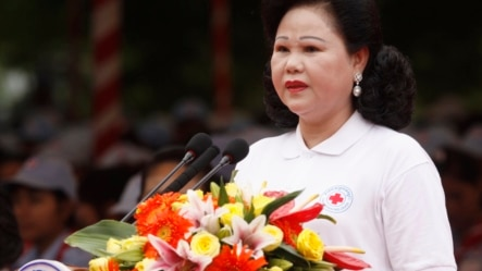 Cambodian Red Cross head Bun Rany Hun Sen gives a speech during ceremonies held ahead of the May 8 World Red Cross Day and Red Crescent Day in Phnom Penh, file photo. (AP Photo/Heng Sinith)
