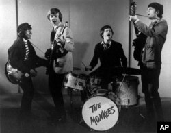 FILE - This 1966 photo shows The Monkees, from left, Davy Jones, Peter Tork, Micky Dolenz and Mike Nesmith.