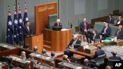 中国国家主席习近平在澳大利亚议会发表演说。(2014年11月17日)
