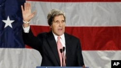 Senator John Kerry speaka during an election night rally in Massachusetts, Nov. 6 2012.