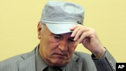 June 3: Former Bosnian Serb Gen. Ratko Mladic removes his hat in the court room during his initial appearance at the U.N.'s Yugoslav war crimes tribunal in The Hague, Netherlands.