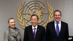 Amerika Dışişleri Bakanı Hillary Clinton, BM Genel Sekreteri Ban ki Moon ve Sergey Lavrov