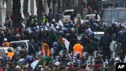 경찰과 대치하고 있는 알제리 반정부 시위대