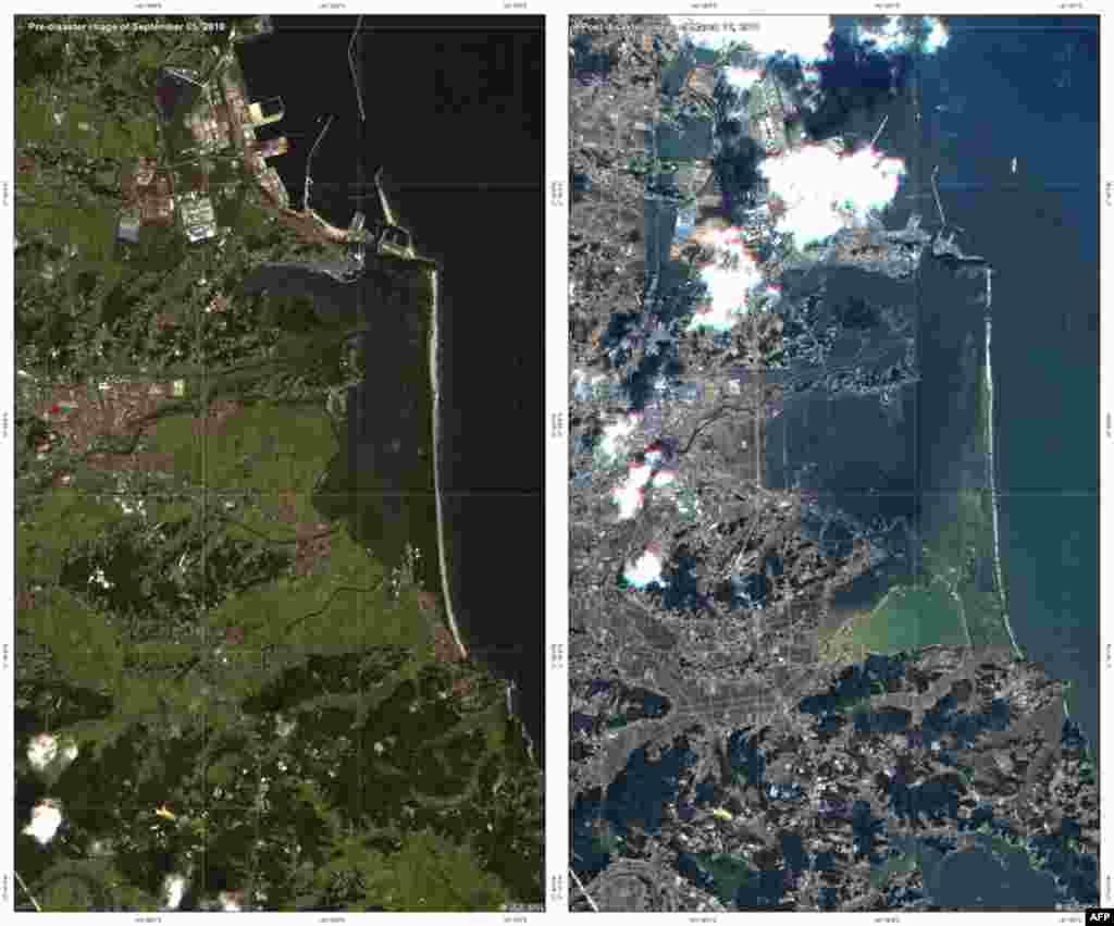 Снимки спутниковых изображений осуществленных Германским аэрокосмическим центром. Берег Японии до и после цунами