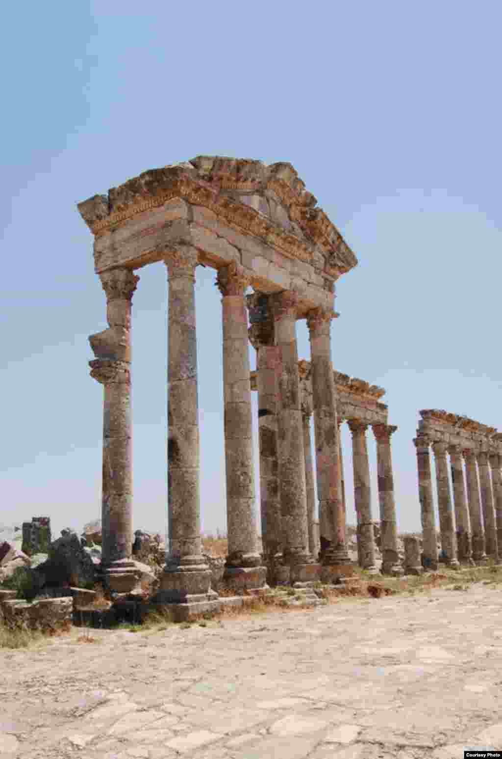 The façade of a structure among the Roman ruins of Apamea, a major trade center of the Middle East, photographed by Christian Sahner before the Syrian conflict began.