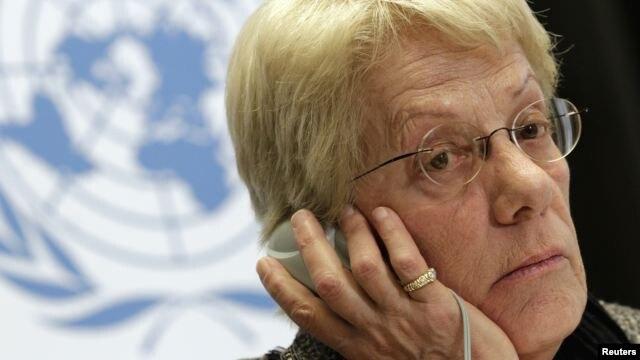 Carla del Ponte, miembro de la comisión investigadora de crímenes de guerra en Siria, durante una rueda de prensa en Ginebra.