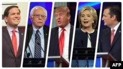 Зліва: Марко Рубіо, Берні Сандерс, Дональд Трамп, Гілларі Клінтон, Тед Круз – претенденти на номінацію кандидата в президенти США