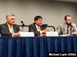 Israel Missile Defense Organization director Moshe Patel (center) speaks at a panel discussion at the annual conference of American pro-Israel group AIPAC in Washington on March 24, 2019.