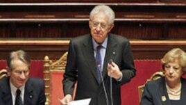 Italijanski premijer Mario Monti drži govor u Senatu u Rimu