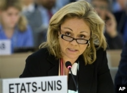 FILE - Eileen Donahoe speaks during the 13th session of the Human Rights Council at the United Nations headquarters in Geneva, Switzerland, March 24, 2010.