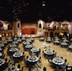 Here's the Indiana Roof Ballroom, set up for a party or business meeting.