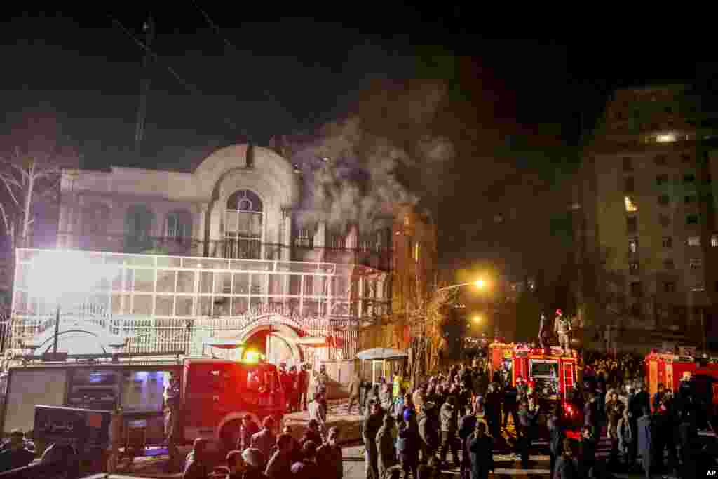 Iranian protesters set fire to the Saudi embassy in Tehran, during a protest against the execution of prominent Shi'ite cleric Sheikh Nimr al-Nimr by Saudi authorities.
