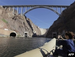 The Mike O'Callaghan-Pat Tillman Memorial Bridge was completed in 2010. Hoover Dam is in the background.
