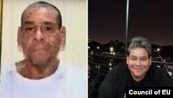 La última imagen de Jorge Pereira que tuvieron sus familiares, en enero del 2019, junto a una foto del expresidente encargado de CITGO en octubre del 2017. [Foto: Cortesía Mervis Pereira]