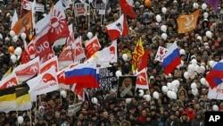 示威者在莫斯科集會。
