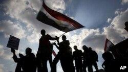 카이로 중심부의 반정부 시위대