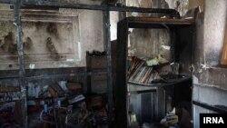Sekolah yang hangus terbakar di sebelah tenggara kota Zahedan, Iran, 18 Desember 2018.