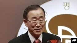 聯合國秘書長潘基文星期一在首爾接受2012年首爾和平獎