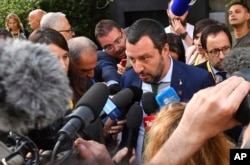 Italy's Interior Minister Matteo Salvini speaks to media after a meeting in Innsbruck, Austria, July 11, 2018.