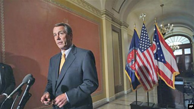 House Speaker John Boehner of Ohio speaks during a news conference on Capitol Hill in Washington, to discuss GOP efforts to create jobs and cut spending, April 1, 2011
