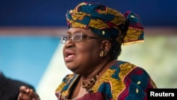 "FILE - Nigerian Finance Minister Ngozi Okonjo-Iweala takes part in a discussion on ""Challengers of Job-Rich and Inclusive Growth: Growth and Reform Challenges"" during the World Bank/IMF Annual Meeting in Washington."