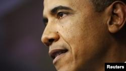 美國總統奧巴馬1月1日國會通過新的稅收法後在白宮發表講話
