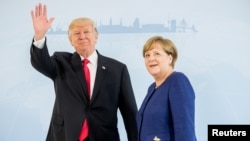 German Chancellor Angela Merkel meets U.S. President Donald Trump on the eve of the G-20 summit in Hamburg, Germany, July 6, 2017.
