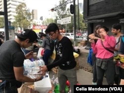 Volunteers collect and package donations to send to those affected by the earthquake that struck Se pt. 19, 2017 in Puebla, 123 kilometers south in Mexico City. The 7.1 magnitude quake has killed at least 225 people and trapped many in collapsed buildings