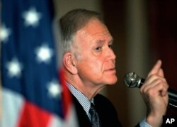 FILE - Former Sen. Bob Packwood is pictured at a luncheon in Gleneden Beach, Ore., April 8, 1998.