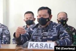 Kepala Staf TNI Angkatan Laut Laksamana TNI Yudo Margono dalam keterangan pers di Jakarta, 24 April 2021. (Foto: Courtesy/TNI)