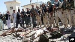 지난해 9월 아프가니스탄 탈레반 무장조직의 공격이 있었던 가즈니 주 정부 청사에서 정부군 병사들이 사살한 탈레반 조직원들 앞에 서 있다. (자료사진)