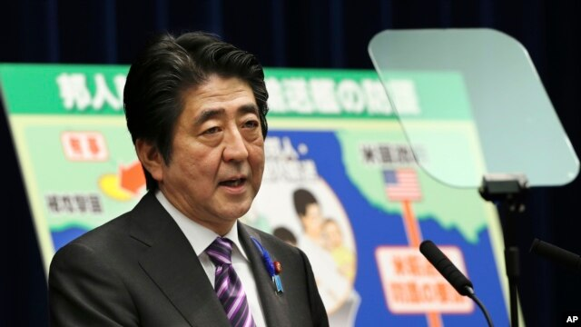 FILE - Japanese Prime Minister Shinzo Abe.